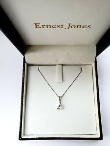 Vintage Ernest Jones 9ct 375 White Gold Cubic Zirconia Solitaire Necklace Boxed