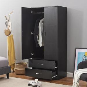 2 Door Double Wardrobe In Black - Bedroom Furniture 2 Drawer Storage Cupboard