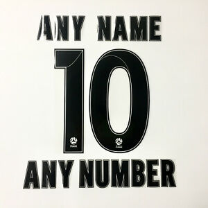 A-LEAGUE 2019/2020 NAME AND NUMBER BLACK COLOUR NAMESET FOR VARIOUS JERSEY