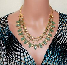 """Egyptian Cleopatra Green Aventurine Lotus Warrior Necklace, 20"""" Gold-Plated"""