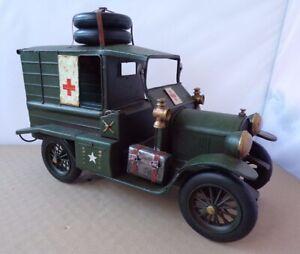 Vintage Style Large Tinplate Model Of A WW1 Military Ambulance Vehicle