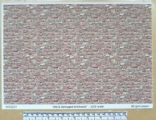 """Dolls house 1/12th scale """"Old & damaged brick"""" paper - A4 sheet"""