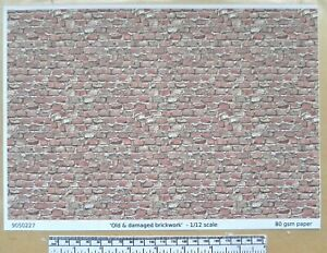 "Dolls house 1/12th scale ""Old & damaged brick"" paper - A4 sheet"
