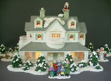 christmas village lighted ceramic house accessories people santa snowman trees - Ceramic Christmas Houses