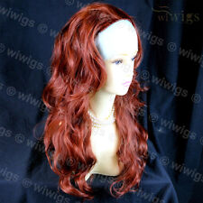 3/4 Fall Long Copper Red Wavy Layered Hairpiece From WIWIGS UK