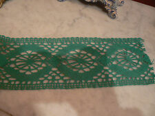 ancien tres gros galon vert en fil de coton fait a la main 316 cm x 10,5 cm