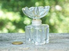 Small empty Perfume BOTTLE France Oscar de la Renta Ornate FLOWER GLASS STOPPER