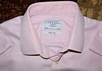 CHARLES TYRWHITT LONG SLEEVE NON-IRON DRESS SHIRT Pink 16.5 34 Micro Check MINT