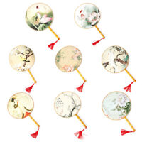 Chinese Style Round Hand Held Folding Silk Fan For Party Wedding Event Supplies