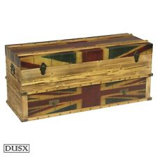 Reproduction Boxes/Chests Vintage Retro Union Jack Boys Room Wooden Set of two Storage Trunks