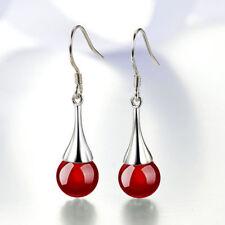 Boucles d'oreilles Pendantes argent 925 perles  AGATE noire ou rouge top qualité