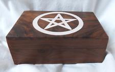 Hand Carved Wooden Tarot Card Storage Box -  Pentagram Inlay to Lid - BNIB