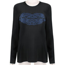Stella McCartney Black Navy Blue Broderie Anglaise Floral Lip Top IT40 UK8