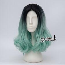Lolita Women Fashion Black Mixed Light Green 40CM Short Wavy Party Cosplay Wig