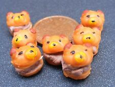 1;12 Scale 7 Loose Bear Cakes Dolls House Miniatures Bakery Chocolate Buns PL123