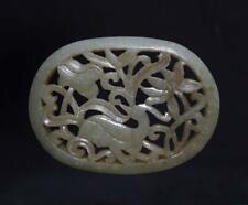 Vintage Chinese Celadon Hollow Carved Nephrite Hetian Jade Pendant