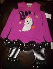 """Bonnie Jean Halloween """"Boo"""" Ghost 2 Piece Outfit  Cold Shoulder Size 6"""