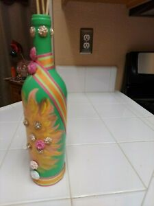 Hand Painted Bottle Beautiful green with gold, pink and yellow with accessories