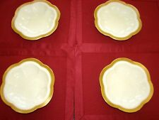 4 LENOX 1925 vintage SCALLOP OYSTER PLATES IVORY-GOLD BANDS-6 WELLS-DAVIS HAWLEY