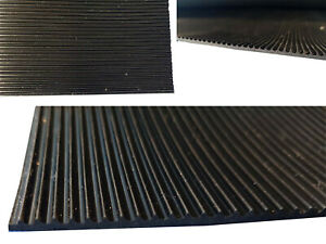 Black Rubber Sheet Mat Ribbed Ridged Fine Grooved 3mm Thick Pad A2 A1 A0