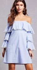 Forever 21 Blue & White Striped Tiered Ruffle Pom Pom Off The Shoulder Dress S