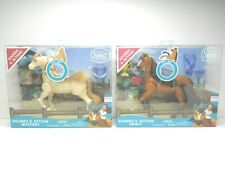 2 Spirit Riding Free Sounds Action Brown & Beige Horse Figures Kid Toy Gifts NEW