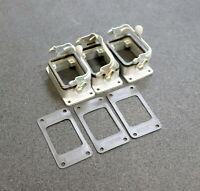 HARTING 3 Stück Anbaugehäuse 6B aus Metall mit 1 Metallbügel - gebraucht