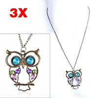 3X Newest Vintage Colorful Owl Crystals Rhinestone Pendant Necklace Best Gift BQ