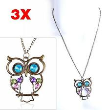 3X Newest Vintage Colorful Owl Crystals Rhinestone Pendant Necklace Best Gift FT
