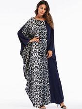 Maxi Leopard Womens Dress Print Abaya Muslim Ramadan Plus Size Loose Robe Kaftan