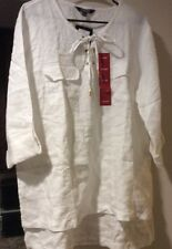 New Women's White Tunic Shirt XL/L/1X Blouse Career Top $89 Hi Lo Linen Dressy
