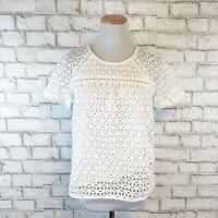 J.Crew Women's Cute White Lace Eyelet Top Blouse Shirt Style 39932 Size 8