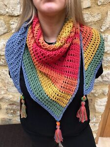 CotswoldCreativeCo Unique Triangular Hand Crocheted Wool Shawl STILL POSTING