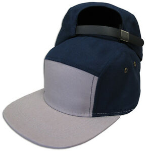 5 Panel Hat Two Tone Leather Strap Back Adjustable JLGUSA Cotton Made in USA NEW