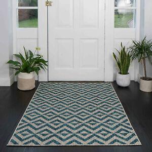 Blue Grey Rugs for Indoor Outdoor Garden Summer Patio Mats Plastic Flatweave Rug