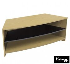 "Oak Wood Effect Corner TV Stand with Black Shelf for up to 60"" TVs"