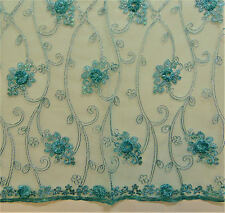 "Baccara Aqua Tulle/Mesh Embroidery Rosette Sequins Metallic Stitching 50"" wide"