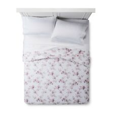 New Simply Shabby Chic White Blooming Blossoms Twin Quilt and Sham Set 2pc