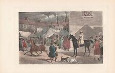 Pferdemarkt Pferdehandel Pferde Hunde handkolorierter DRUCK von 1914