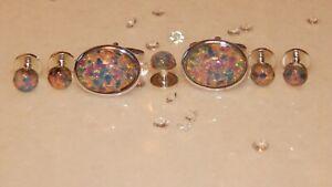 5 S/P 8mm Dress/Dinner Shirt Studs & Set Of 18x13mm Cuff links & Fire Opal Glass