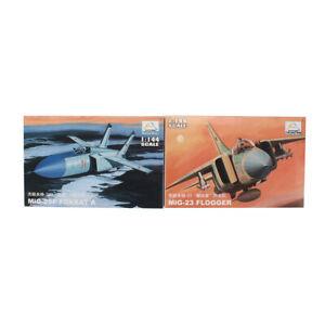 2PCS 1:144 Plane Models Aircraft Fighter Mini Hobby MIG-25P MiG-23 Assemble Kit