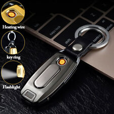 Rechargeable USB Electric Lighter Cigarette Windproof Flameless Keychain Gift NA