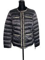 NWT Karl Lagerfeld Paris Gray Tweed Distressed Trimmed Puffer Down Jacket Size M