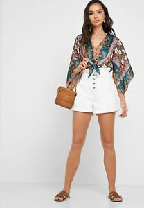 NEW Topshop White Paperboy Denim Button Fly Shorts Size 12 68$