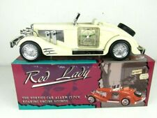 White Red Lady Forties Car Alarm Clock w Roaring Engine Sounds