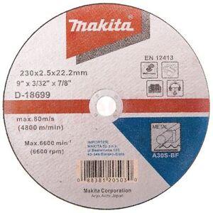 """MAKITA D-18699 230mm/9"""" Metal Cutting Discs  5 Pack 230mm x 2.5mm x 22.23mm"""
