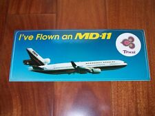 "RARE & BRAND NEW Sticker McDonnell Douglas MD-11 Thai Airways 9"" x 3.5"""