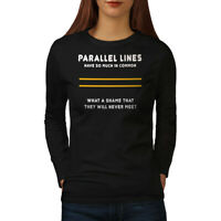 Wellcoda Parallel Lines Womens Long Sleeve T-shirt, Relationship Casual Design