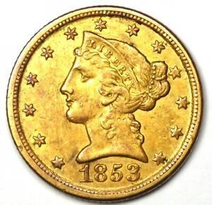 1853-D Liberty Gold Half Eagle $5 - XF / AU Details - Rare Dahlonega Coin!