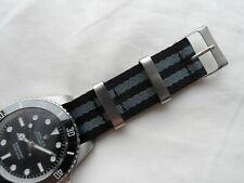 James Bond Watch Strap to fit Nato Strap fits Rolex Submariner Black Grey 20 mm